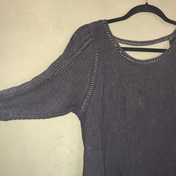 Business casual knit chain detail sweater tunic